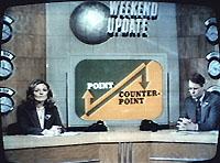 """SNL's """"Weekend Update"""" with Dan Aykroyd and Jane Curtain, 1979"""